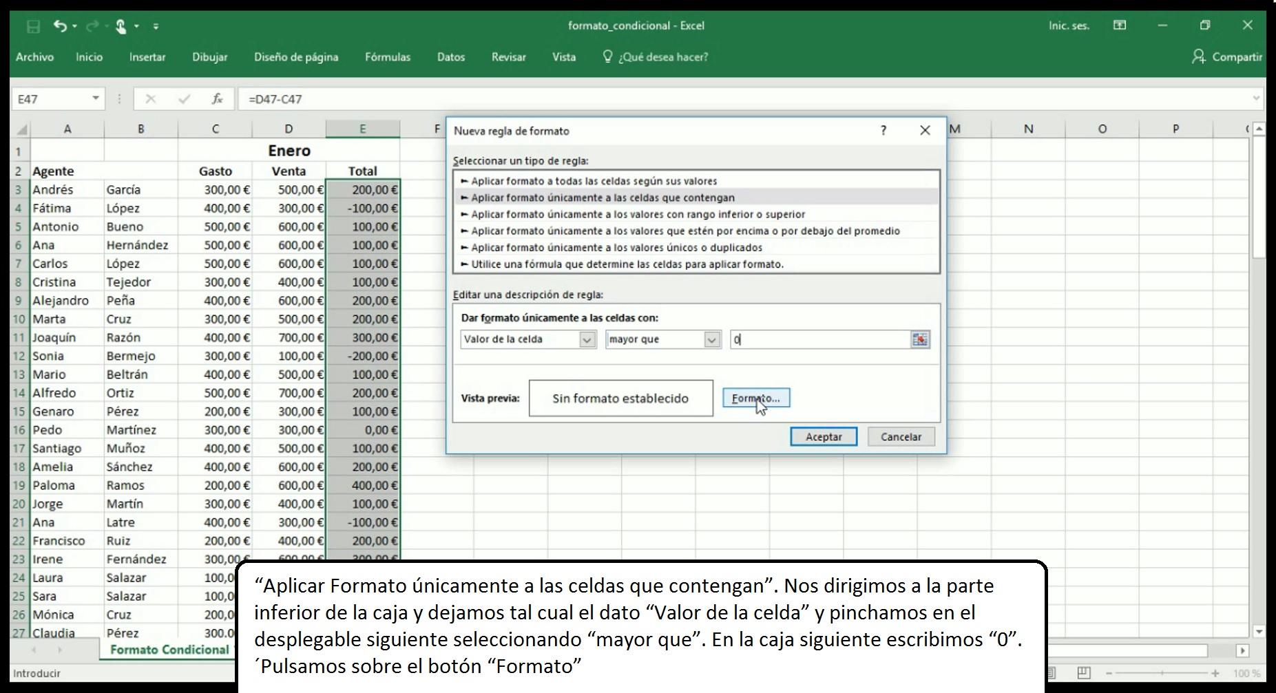Formato condicional en Excel 2013