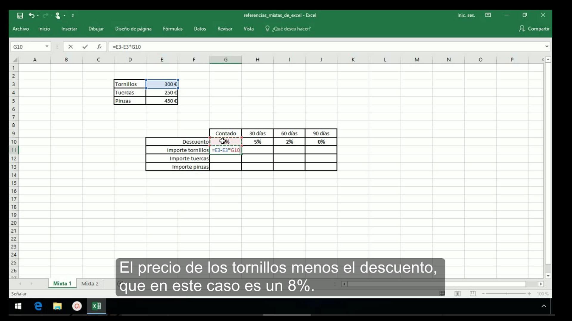Referencias mixtas en Excel 2013