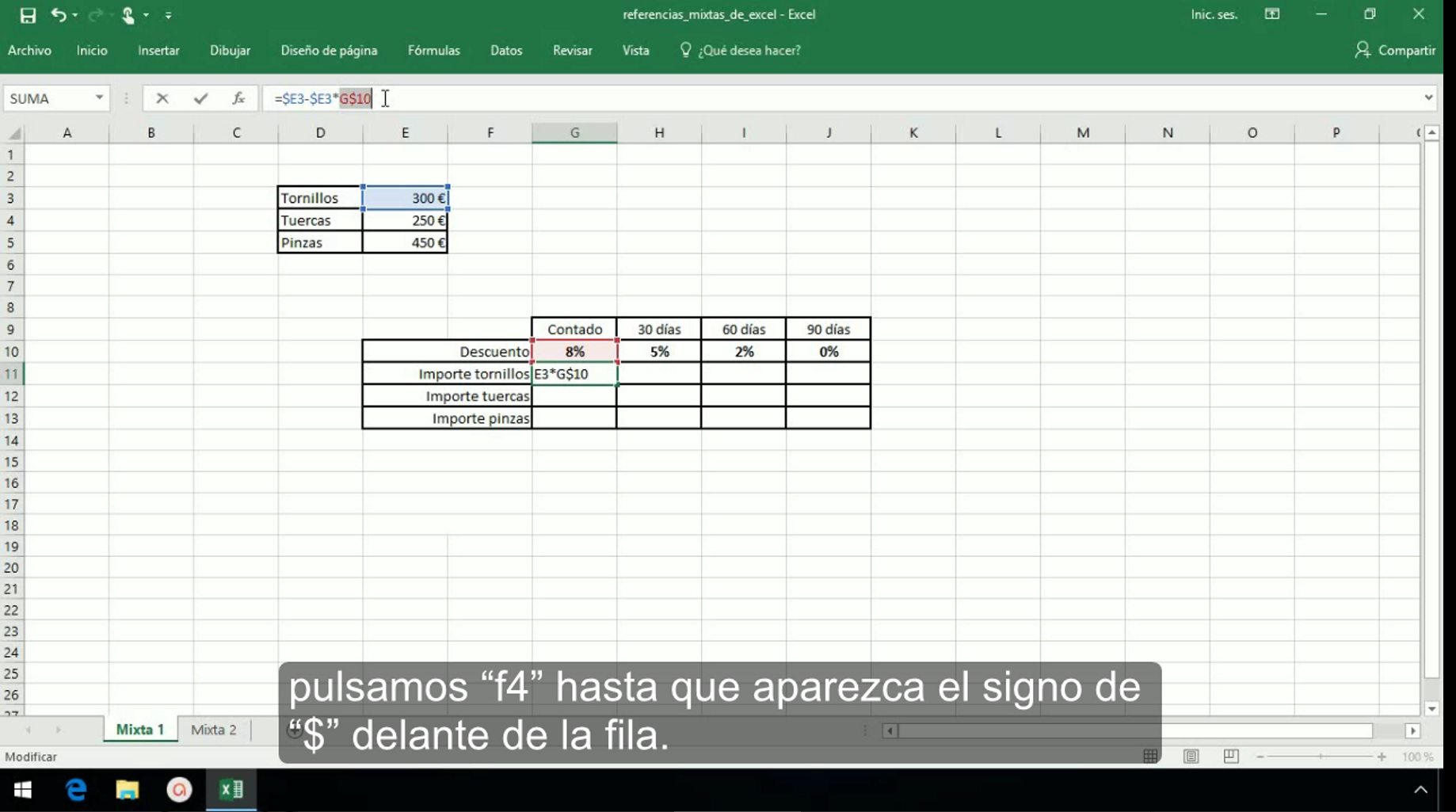 Referencias mixtas en Excel 2013
