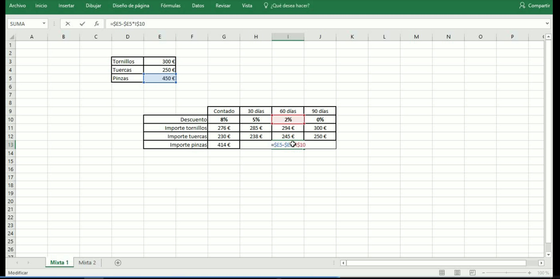 Excel 20. Referencias mixtas.
