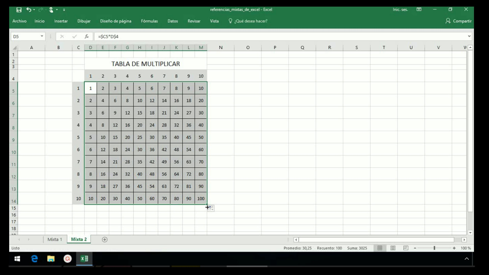 Excel 2013  Referencias mixtas