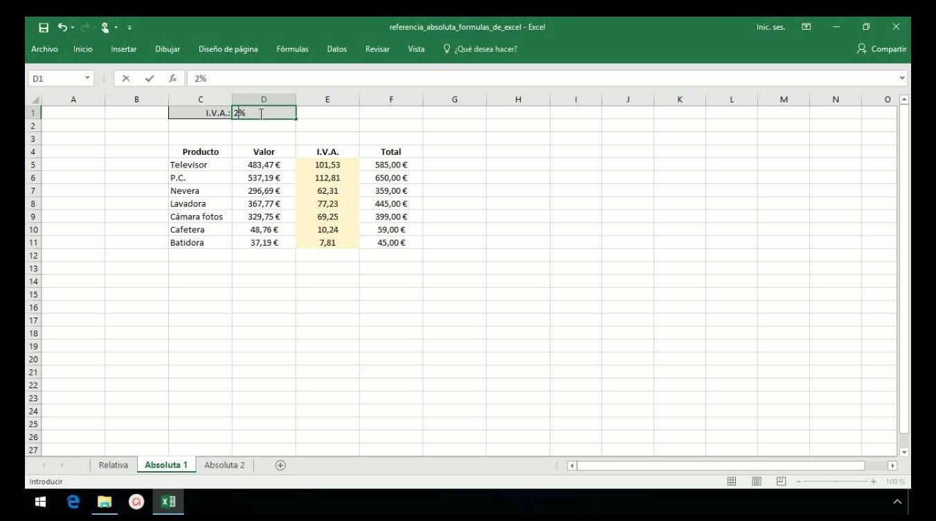 Crear formulas en Excel 2013