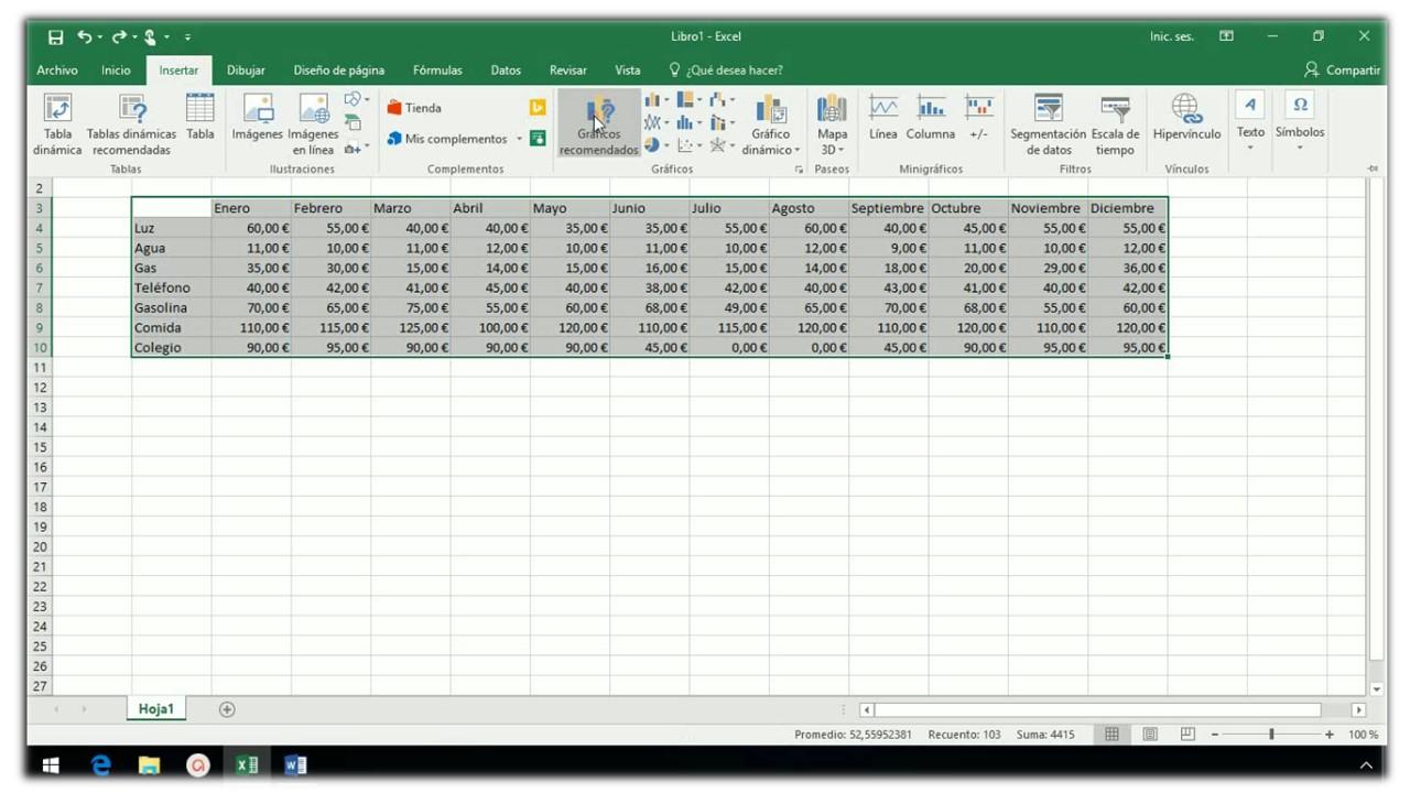 Insertar un gráfico en Excel 2013