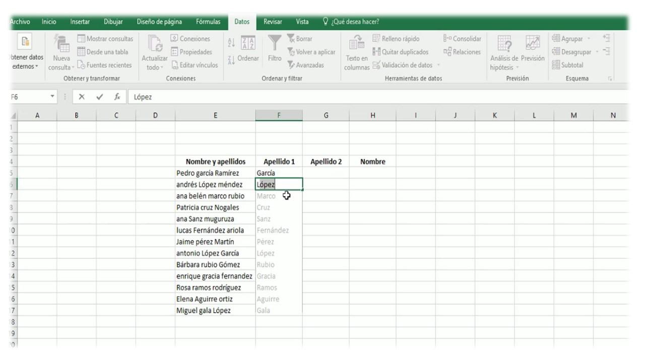 Relleno rápido de datos en Excel